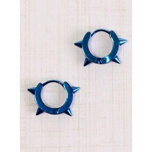 Inked Blue Anodized Steel Spike Earrings